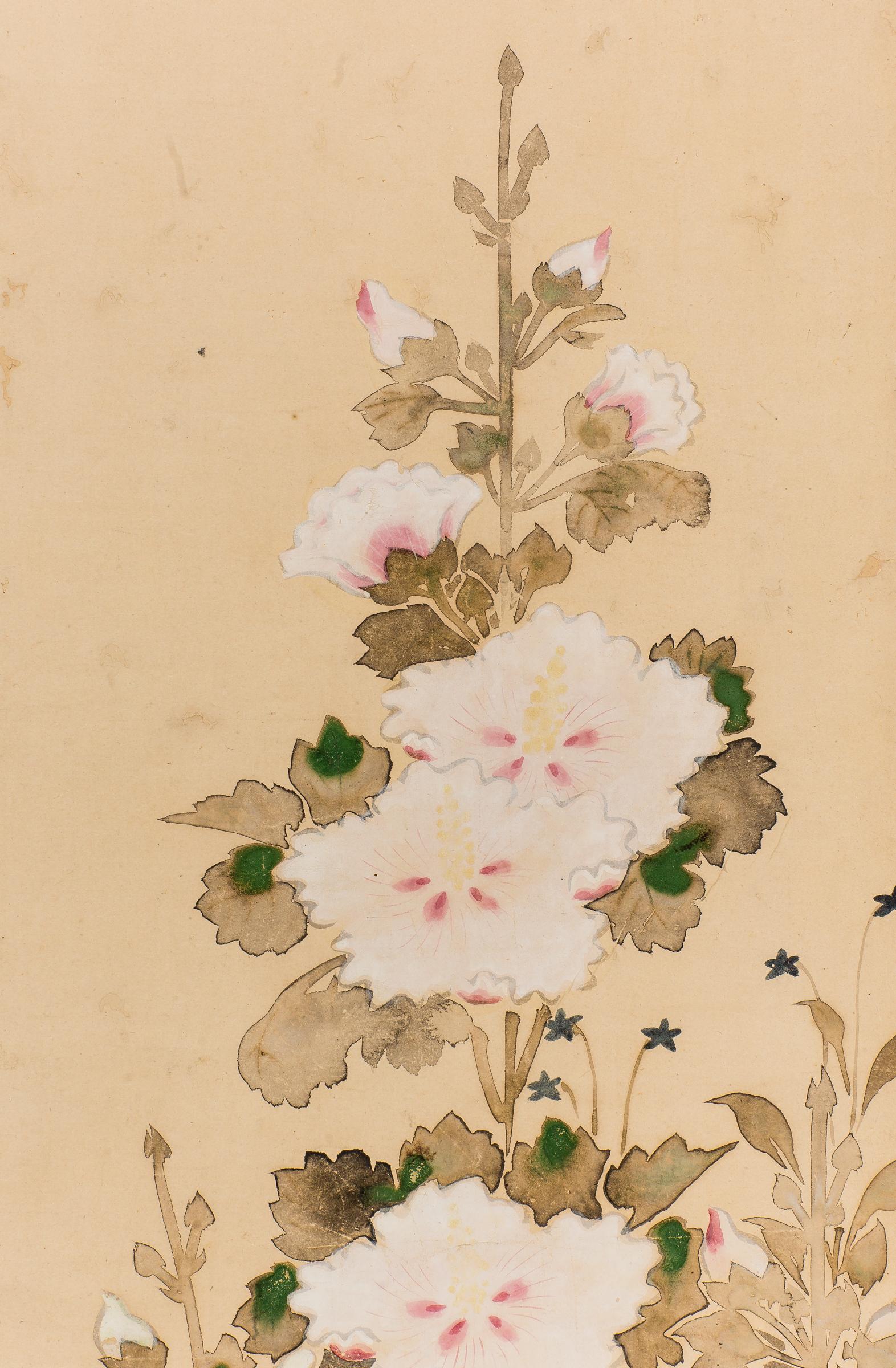 Antique Japanese Scroll of Hollyhocks