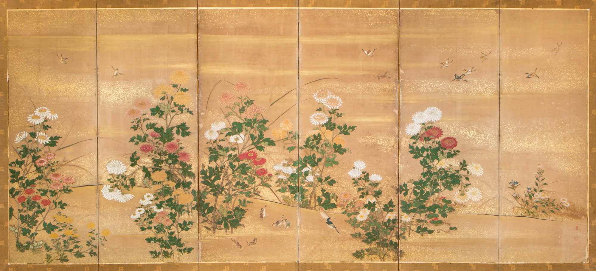 Japanese Six Panel Screen: Chrysanthemums