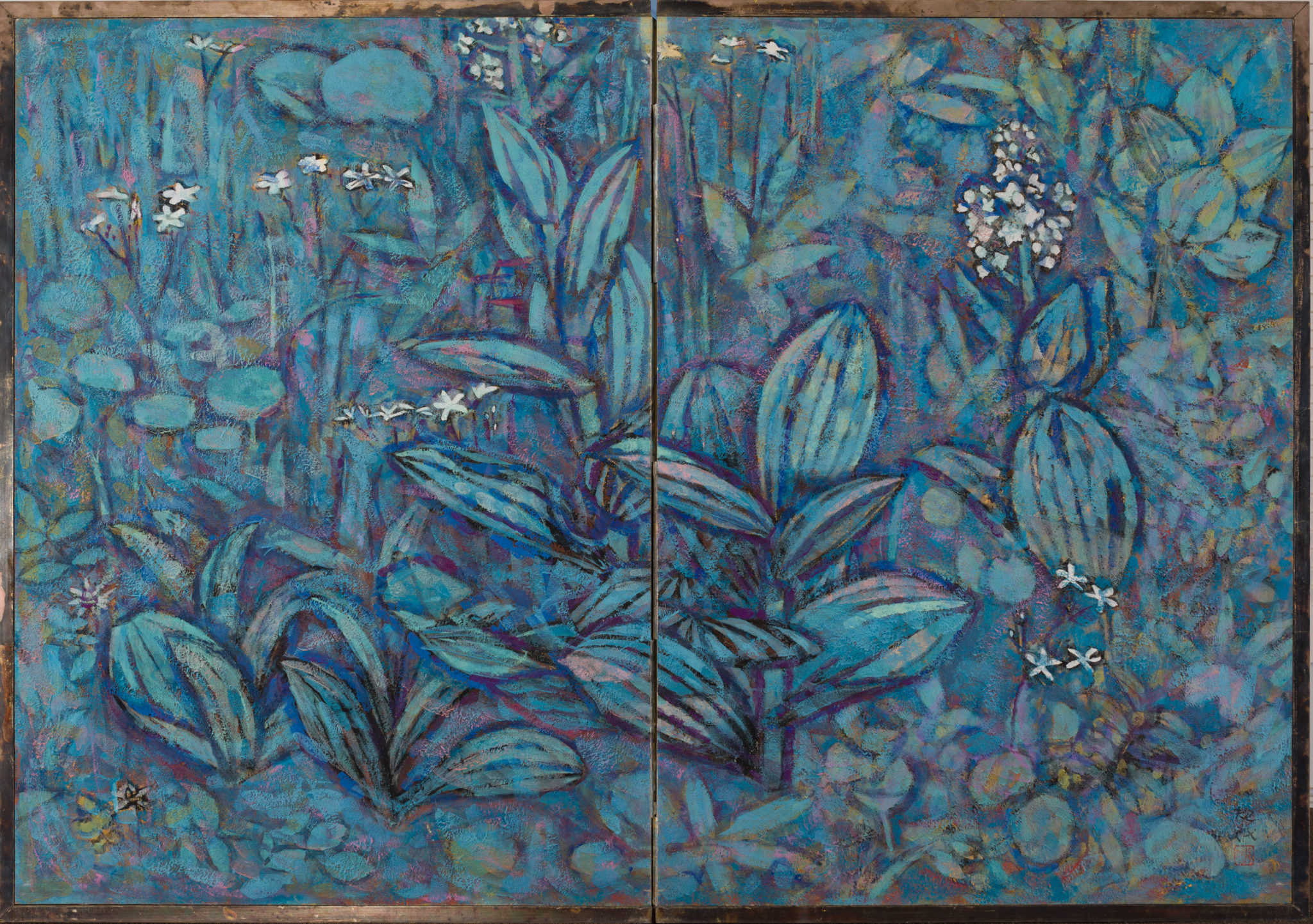 "Japanese Two Panel Screen: ""Flowers of the Highland"""