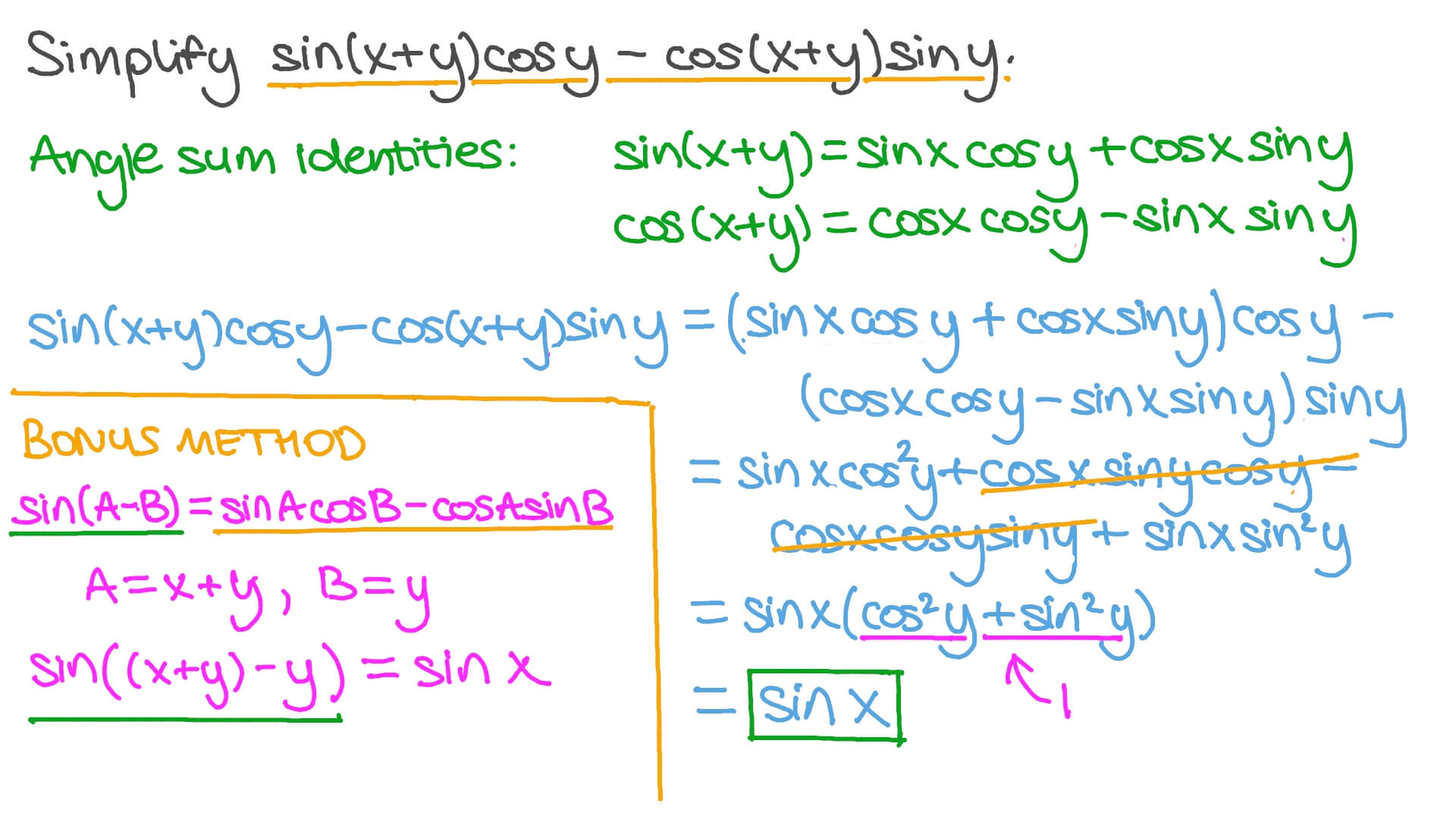 Video Simplifying Trigonometric Expressions Using Double Angle