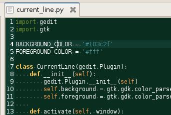 Plugin Current Line Highlight para gEdit