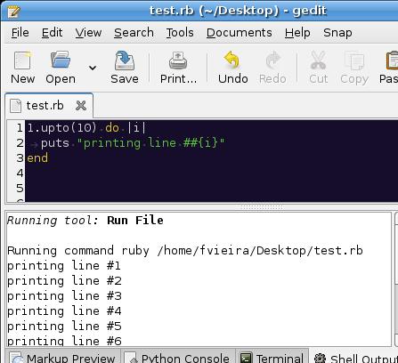 Output de um script em Ruby executado através do External Tools
