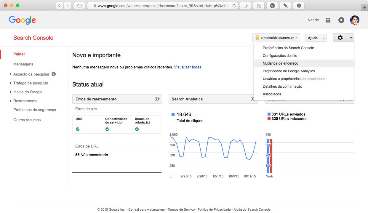 Google Webmasters Tool - Mudar endereço