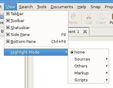 Menu de opções - Highlight Mode