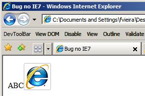 Código acima visualizado no IE7