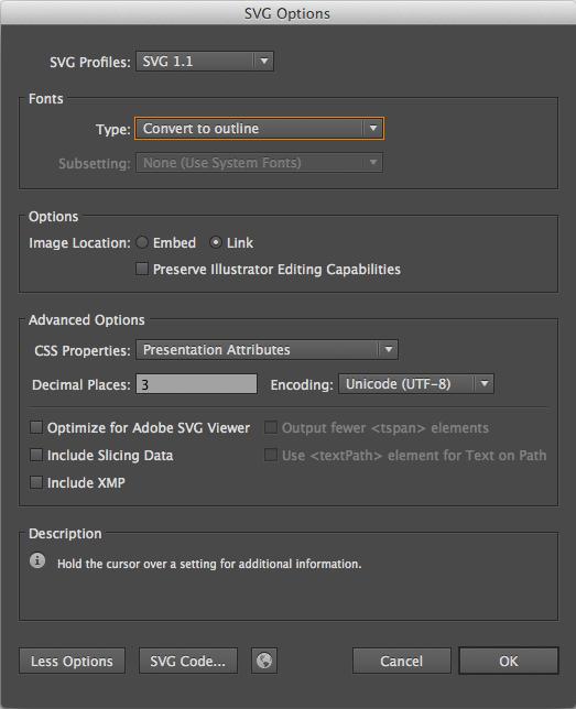 Configurações de exportação do SVG no Illustrator