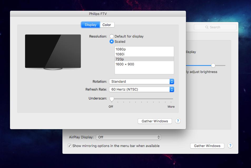 Preferências de monitor: Resolução de 720p