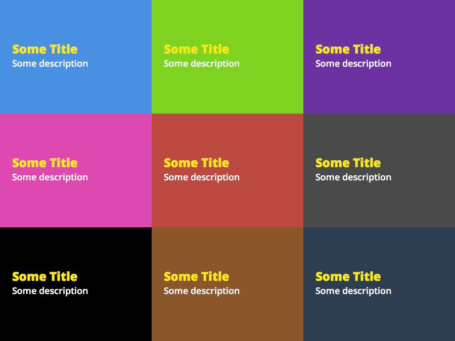 Diferentes cores de slides