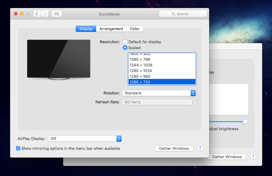 Lista de resoluções disponíveis no Mac