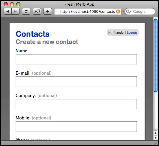 Tela de novos contatos