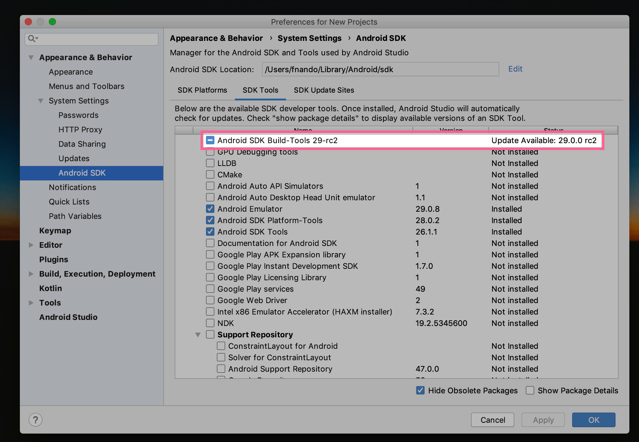 Android Studio: SDK Manager
