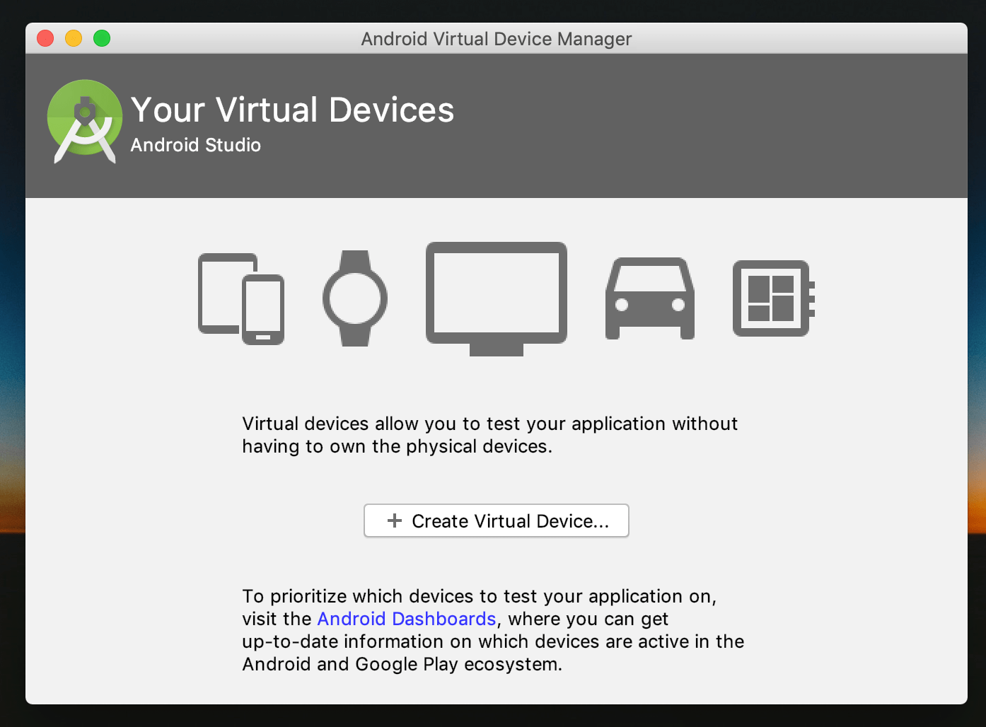 Android Studio: Virtual Device Manager