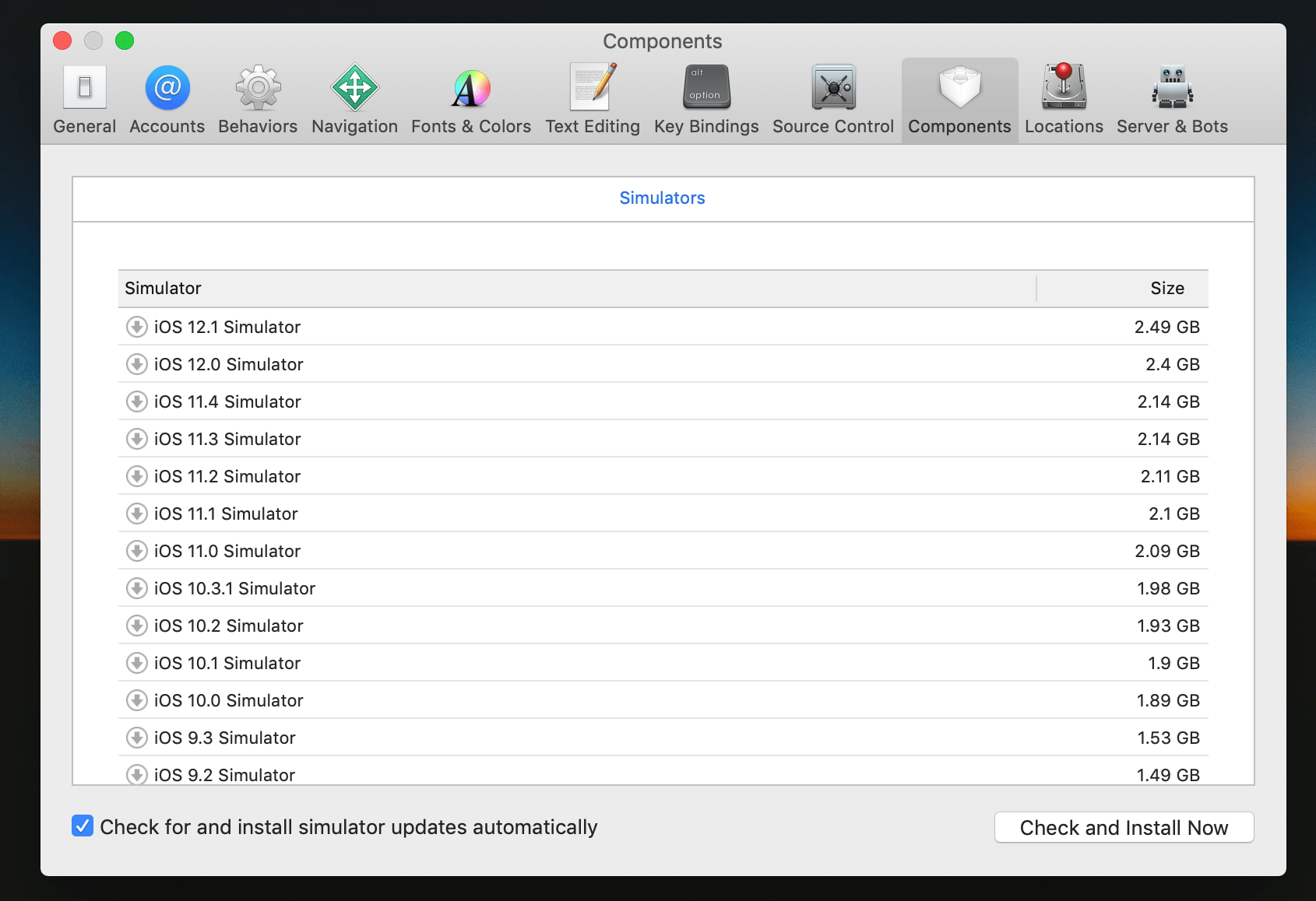 Xcode: Installing iOS simulators