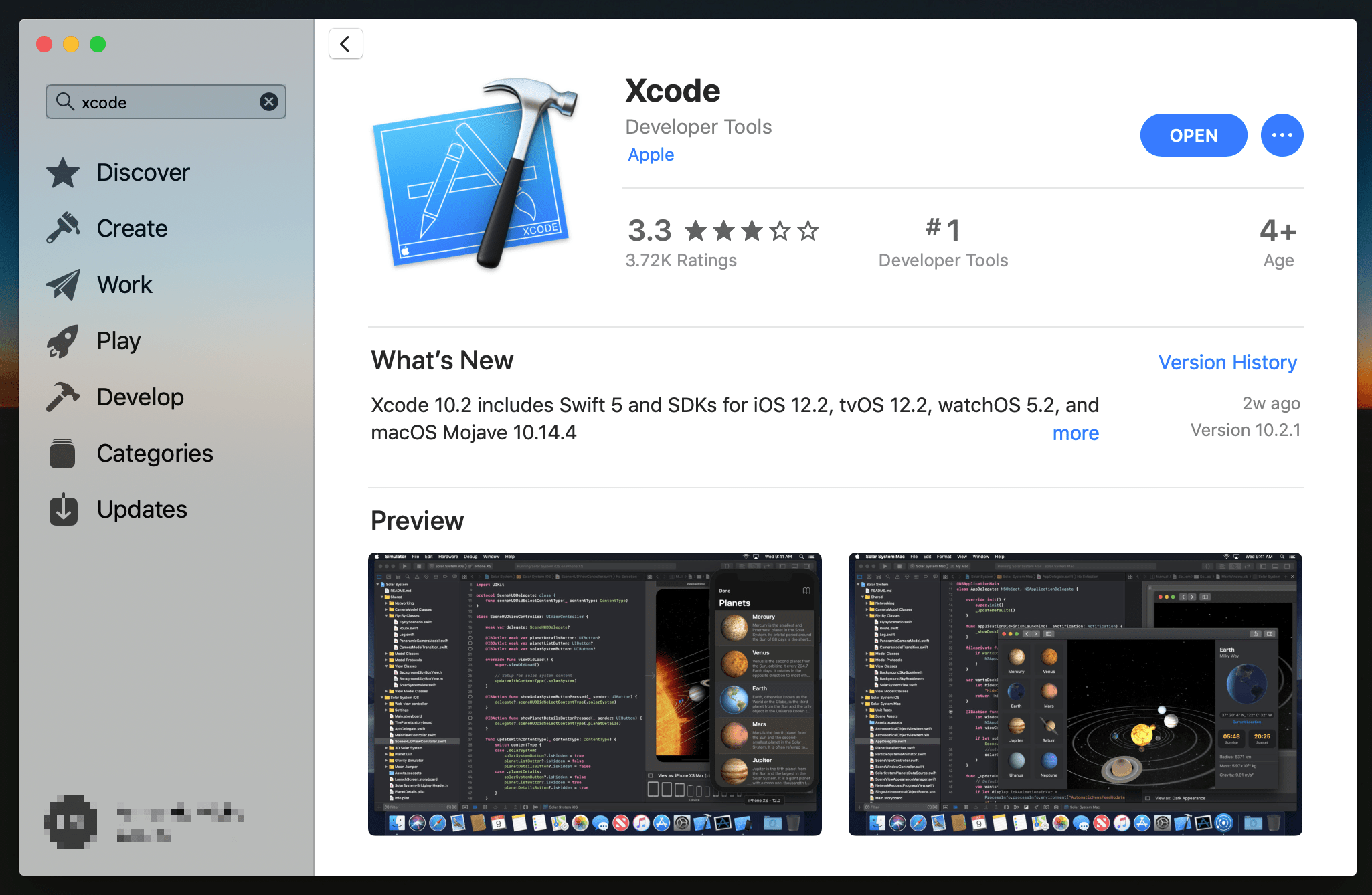 App Store: Xcode app page