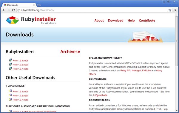 Página de download do RubyInstaller