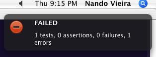 Notificação exibida no Mac OS X quando algum teste gera um erro