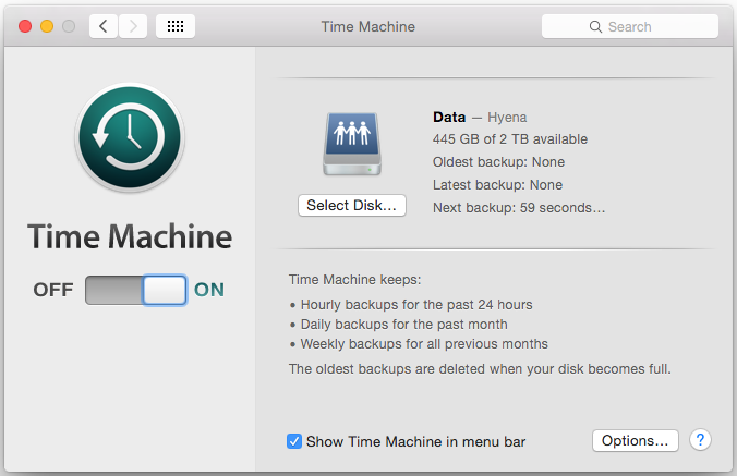 Backup agendado no Time Machine