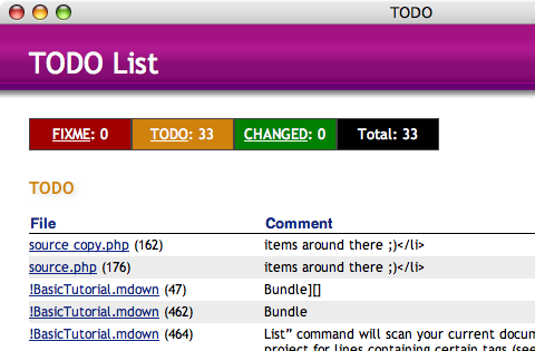 Screenshot do bundle TODO List para Textmate