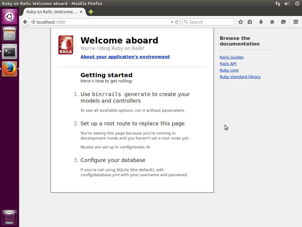 Página inicial do Ruby on Rails