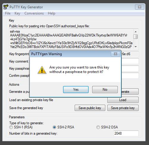 Criando a chave Privada de SSH com o PuTTYgen