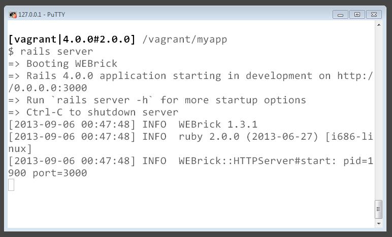 Executando o comando `rails server`