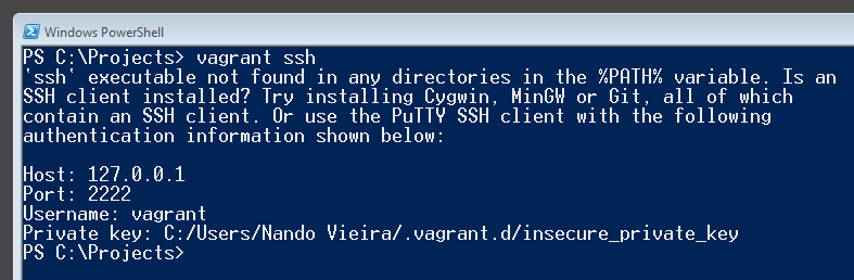 Resposta do comando `vagrant ssh`