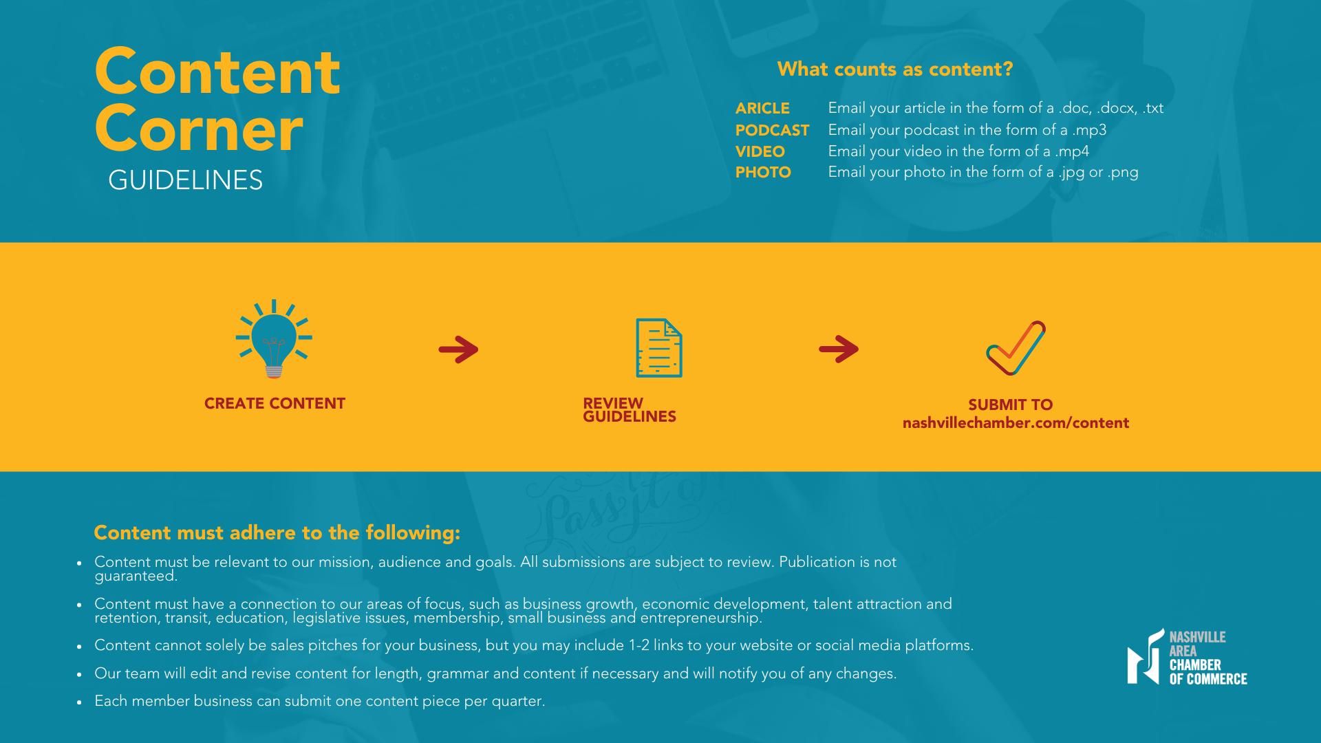 Content Corner Guidelines