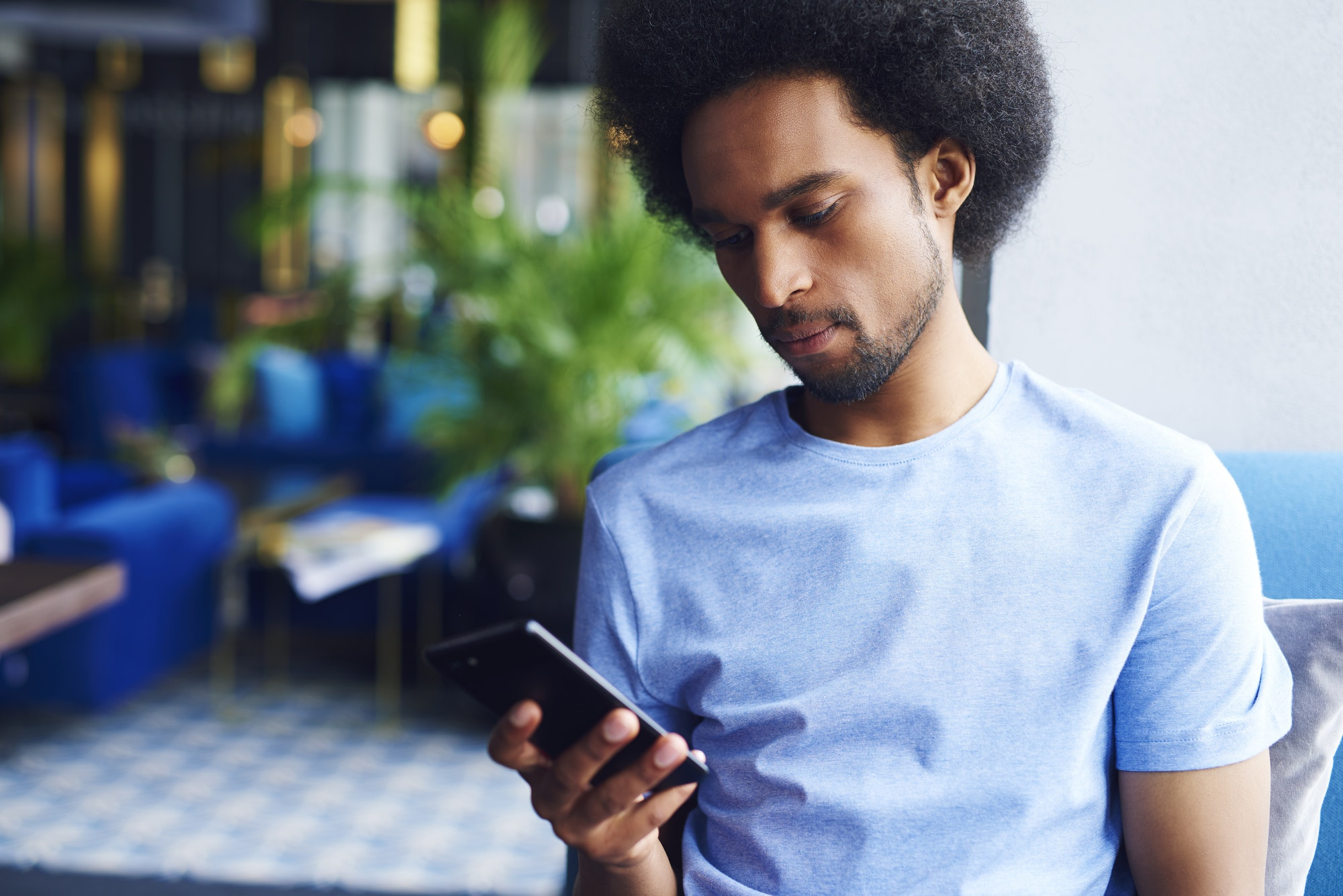 African american man using a mobile phone