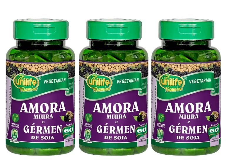 Amora Miura E Gérmen De Soja 60 Cáps 550mg Unilife Kit 3 unidades