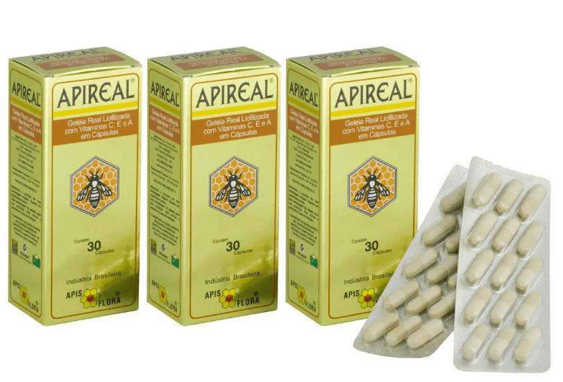 Apireal Geleia Real Liofilizada 30 Cáps Apisflora Kit 3 Unidades