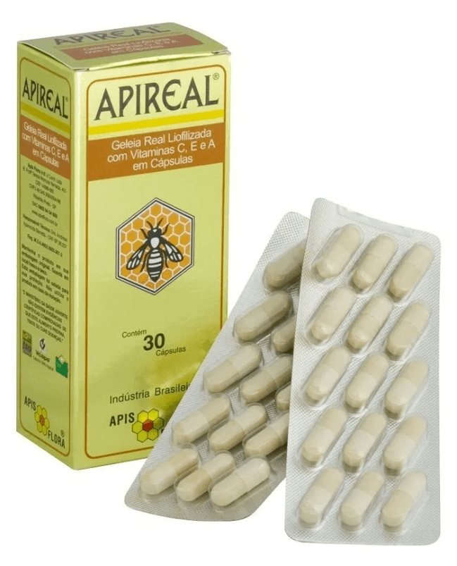 Apireal Geleia Real Liofilizada 30 Cáps Apisflora