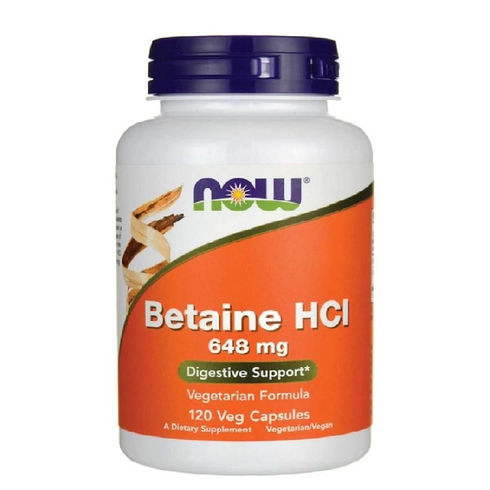 Betaine hci 648 mg com PEPSINA 150 mg Now Foods 120 Caps.