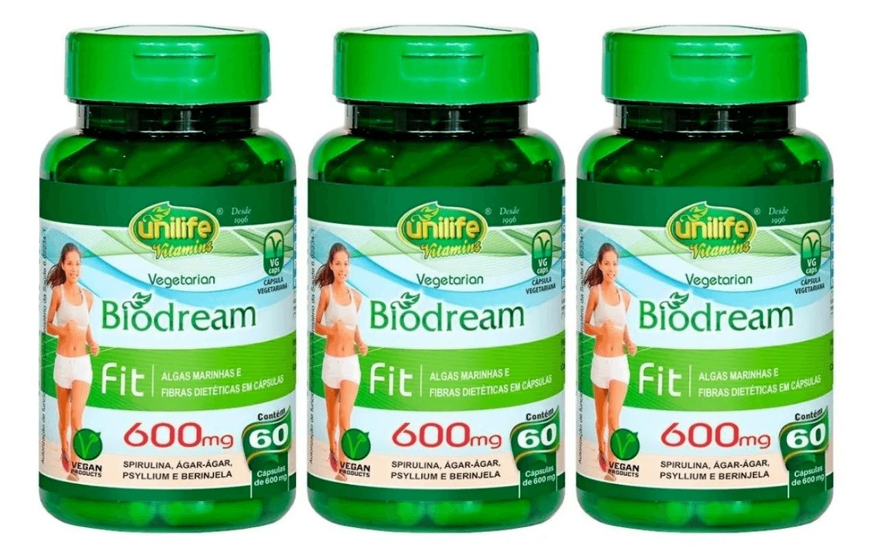 Biodream Spirulina Ágar-ágar Psyllium Berinjela 60 Cáps Kit com 3 unidades
