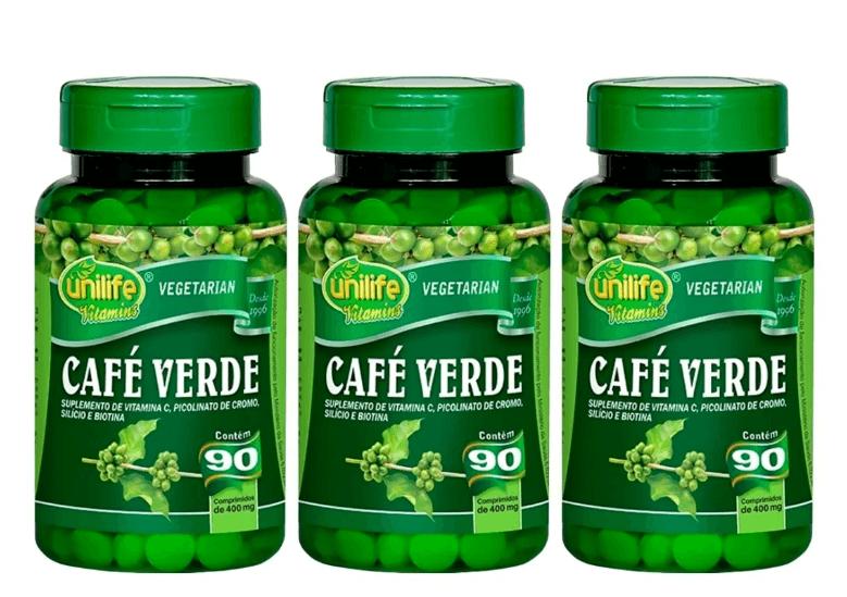 Café Verde 90 Comprimidos 400mg Unilife Kit 3 Unidades