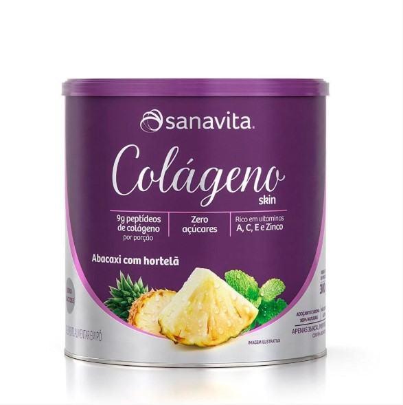 Colágeno Hidrolisado - 300 Gramas - Sanavita Abacaxi Hortelã