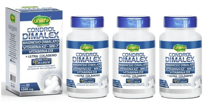Condrol Dimalatex (mag Dimalato/vitam K2/d3) Unilife Kit com 3
