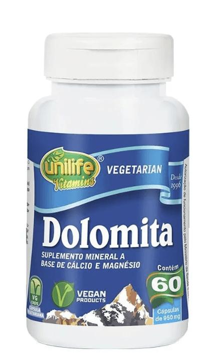 Dolomita Cálcio E Magnésio 60 Cáps 950mg Unilife
