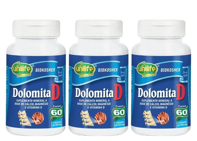 Dolomita D Cálcio Magnésio 60 Cáps 950mg Unilife Kit 3 unidades