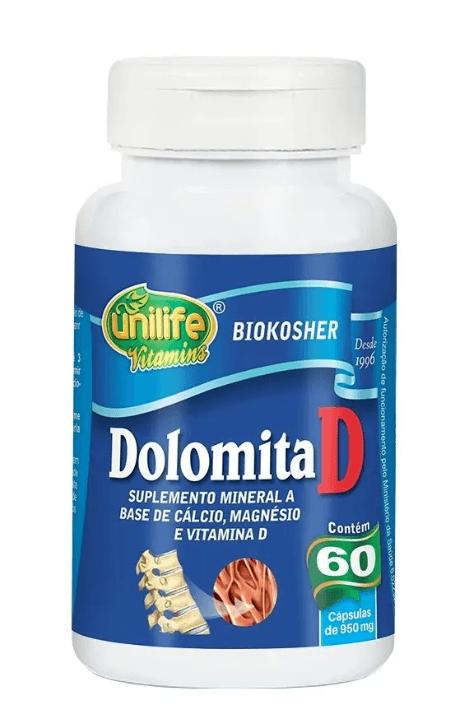 Dolomita D Cálcio Magnésio 60 Cápsulas 950mg Unilife