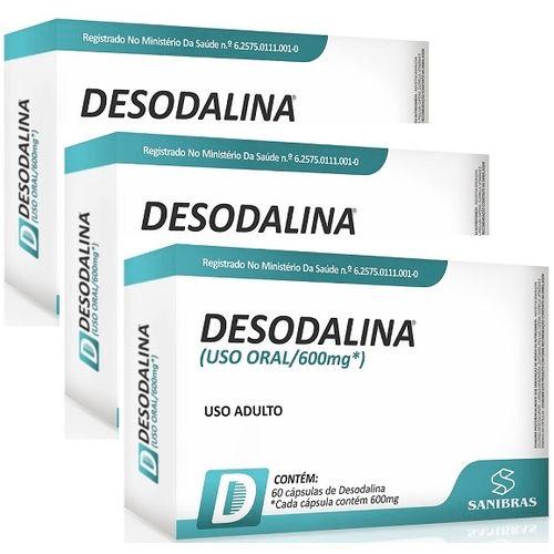 Emagrecedor Desodalina 60 Cápsulas 600mg Sanibras Kit com 3 unidades