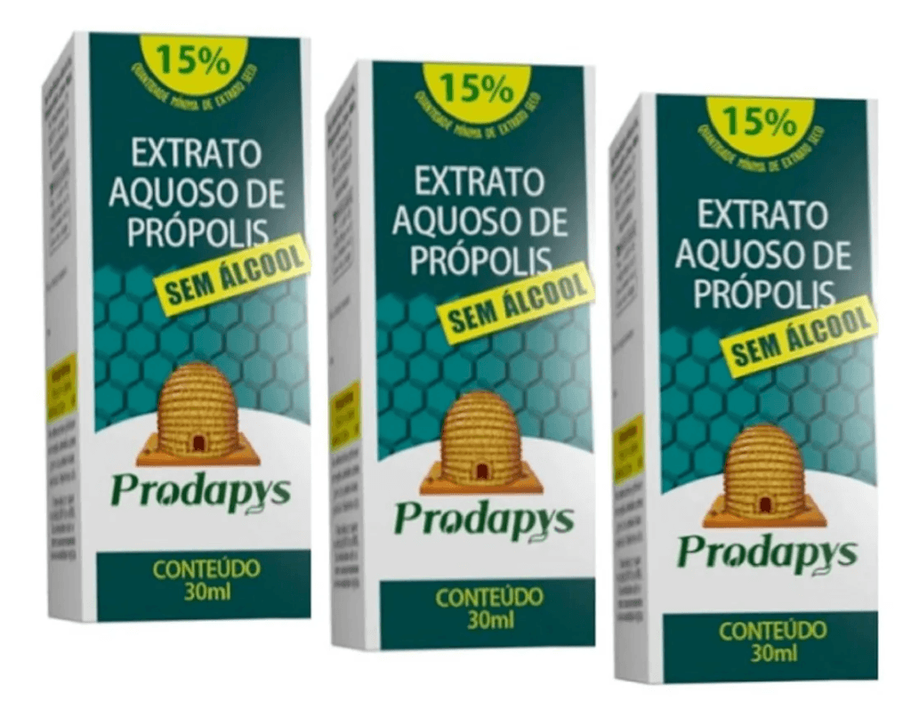 Extrato De Própolis Gotas Sem Álcool 30ml Prodapys Kit 3 unidades
