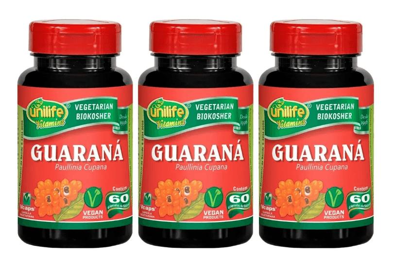 Guaraná Paullinia Cupana 60 Cáps 500mg Unilife Kit 3 Unidades