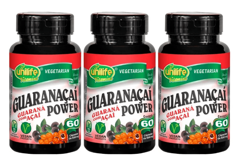Guaranaçaí Power 60 Cápsulas 500mg Unilife Kit 3 Unidades