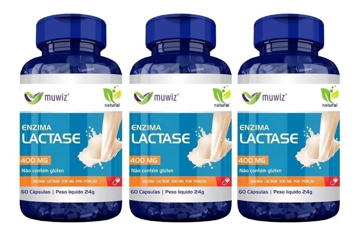 Enzima Lactase (intolerância A Lactose) 60 Cáps 400mg kit com 3 unidades