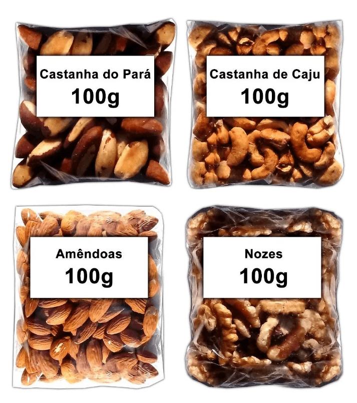 Kit Castanha Do Pará + Caju + Amêndoa + Nozes Total 400g