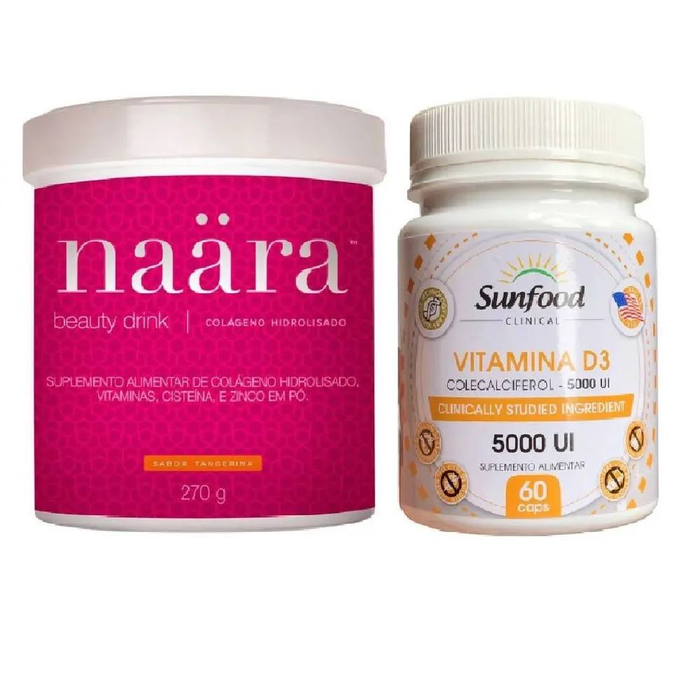 Kit Naara Colágeno Tangerina 270 g com Vitamina D3 60 Caps.