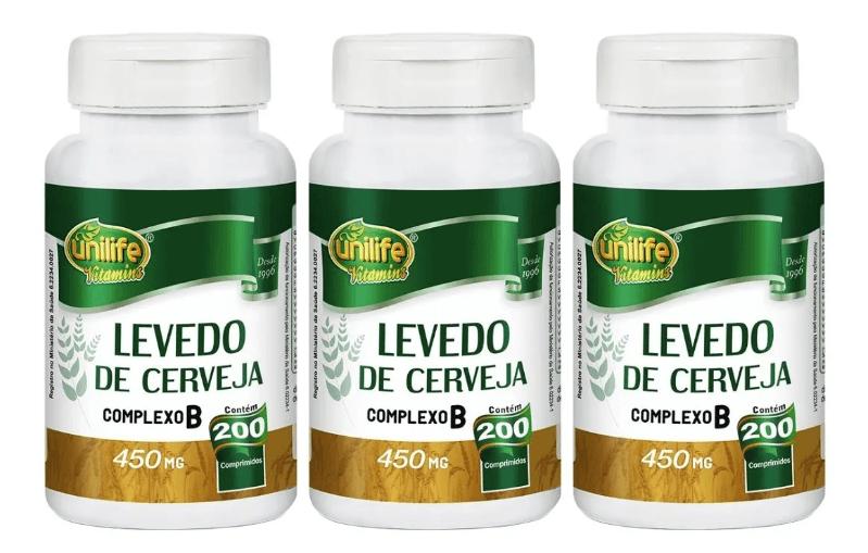 Levedo De Cerveja 200 Comprimidos 450mg Unilife Kit 3 unidades