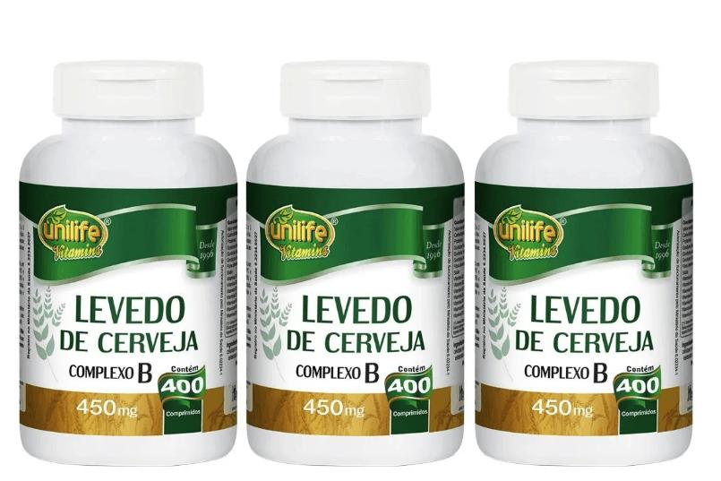 Levedo De Cerveja 400 Comprimidos 450mg Unilife Kit 3 unidades