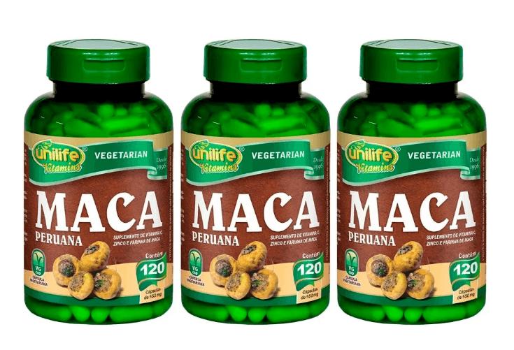 Maca Peruana Com Vitaminas 120 Cápsulas Unilife Kit 3 unidades