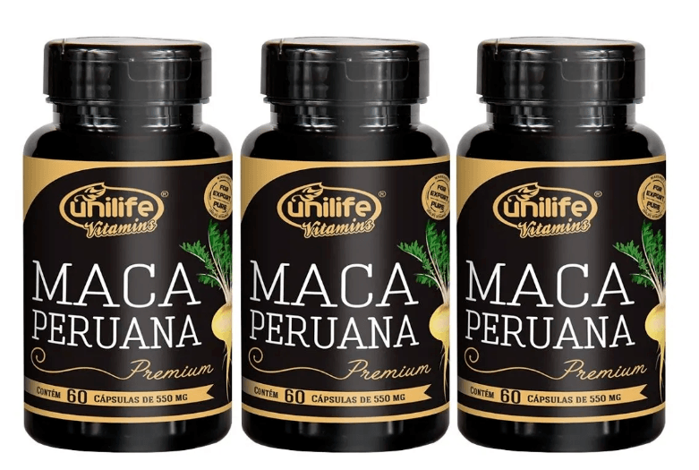 Maca Peruana Premium Pura 60 Cápsulas 550mg Unilife Kit 3 unidades